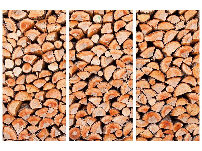 Leinwandbild 3-teilig Birkenstapel