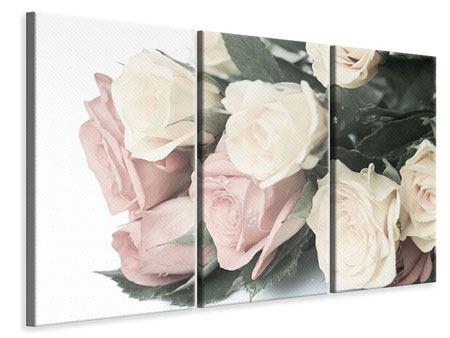 Leinwandbild 3-teilig Rosenromantik