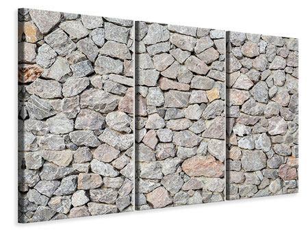 Leinwandbild 3-teilig Grunge-Stil Mauer