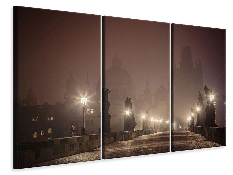 Leinwandbild 3-teilig Die Karlsbrücke bei Nacht