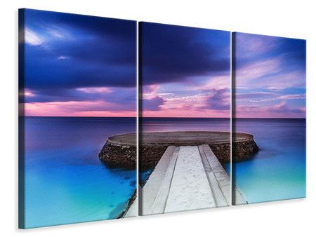 Leinwandbild 3-teilig Meditation am Meer