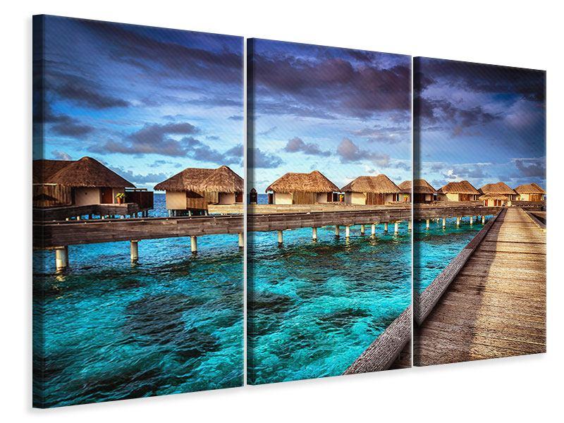 Leinwandbild 3-teilig Traumhaus im Wasser