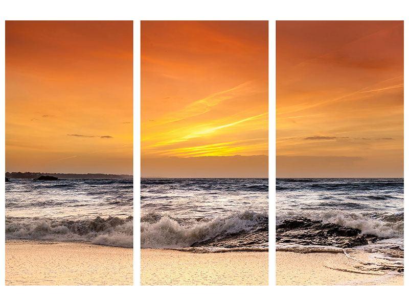Leinwandbild 3-teilig See mit Sonnenuntergang