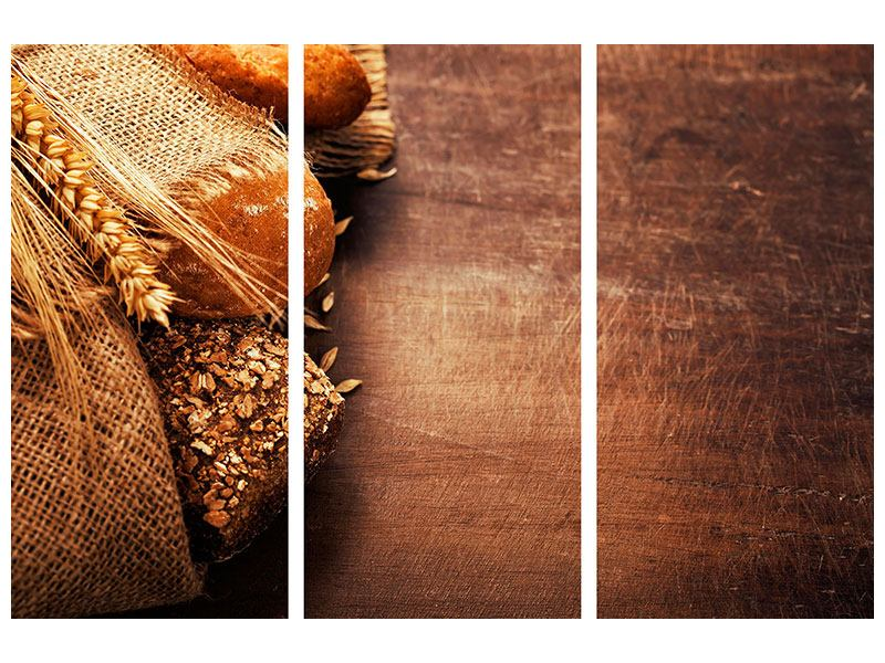Leinwandbild 3-teilig Frische Brote