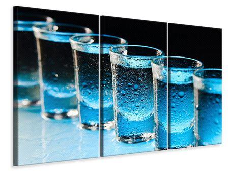 Leinwandbild 3-teilig Wodka Pur