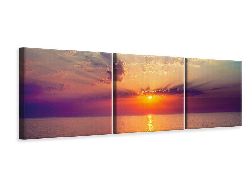 Panorama Leinwandbild 3-teilig Mystischer Sonnenaufgang