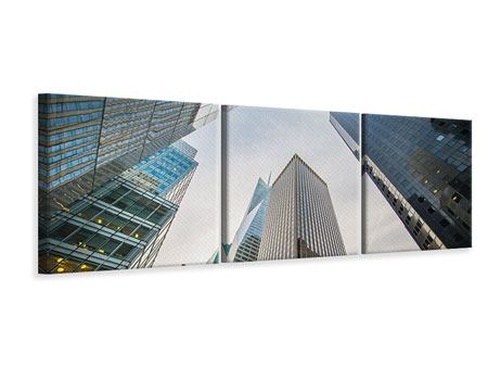 Panorama Leinwandbild 3-teilig Hochhäuser
