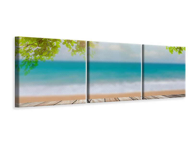 Panorama Leinwandbild 3-teilig Strandterrasse