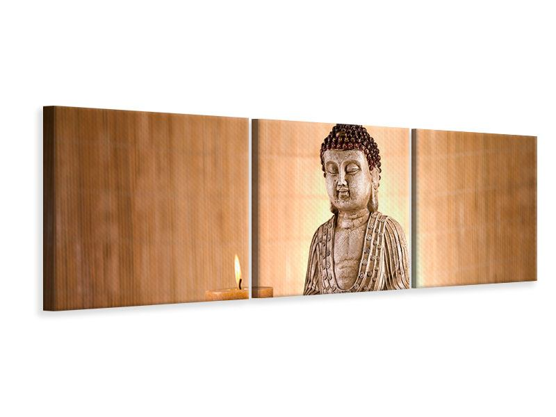 Panorama Leinwandbild 3-teilig Buddha in der Meditation