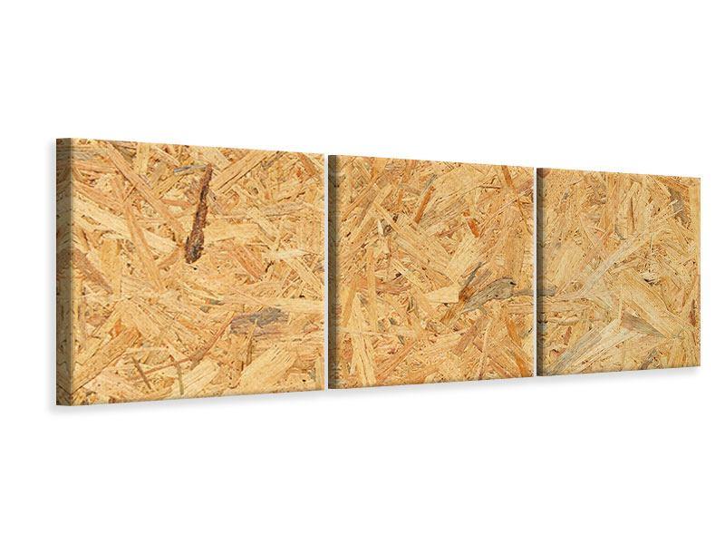 Panorama Leinwandbild 3-teilig Gepresstes Holz