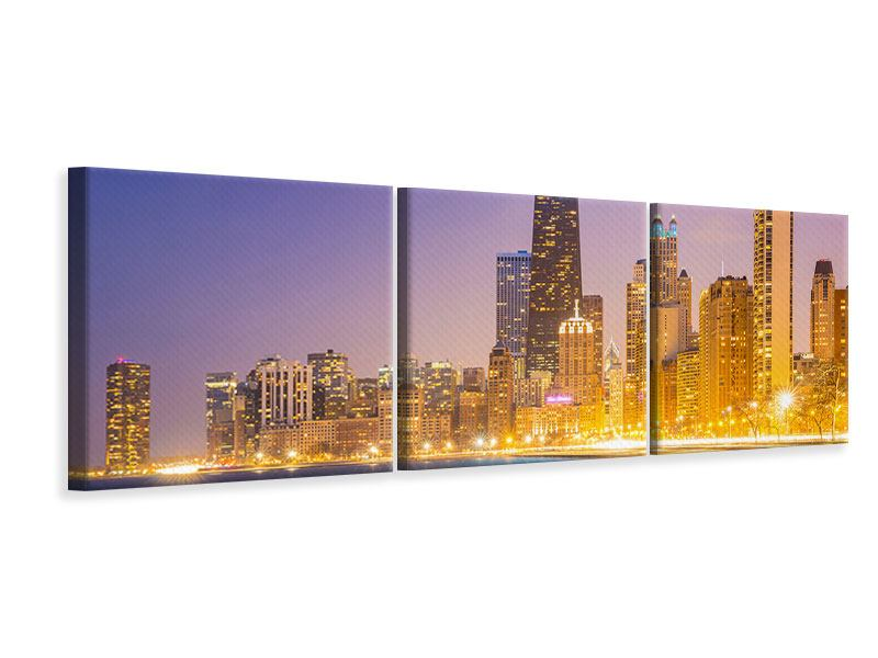Panorama Leinwandbild 3-teilig Skyline Chicago in der Nacht