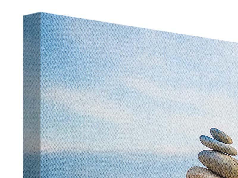 Panorama Leinwandbild 3-teilig Drei Steinstapel