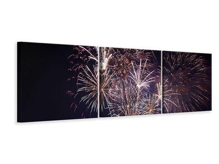 Panorama Leinwandbild 3-teilig Feuerwerk
