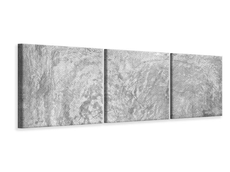 Panorama Leinwandbild 3-teilig Wischtechnik in Grau