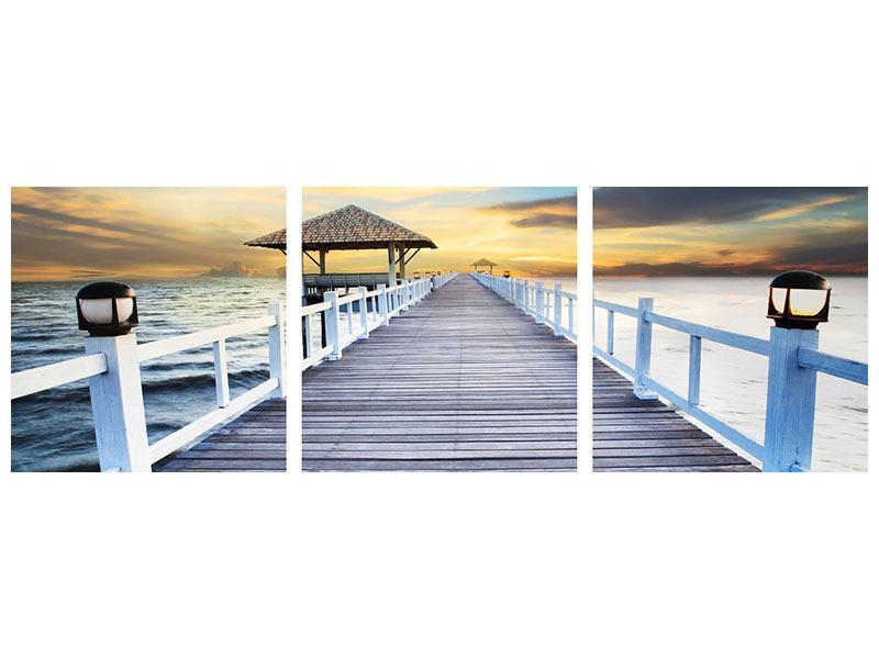 Panorama Leinwandbild 3-teilig Die Brücke ins Meer
