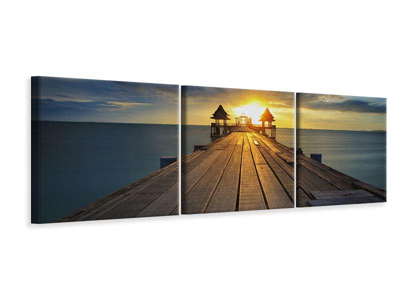 Panorama Leinwandbild 3-teilig Der Sonnenuntergang bei der Holzbrücke