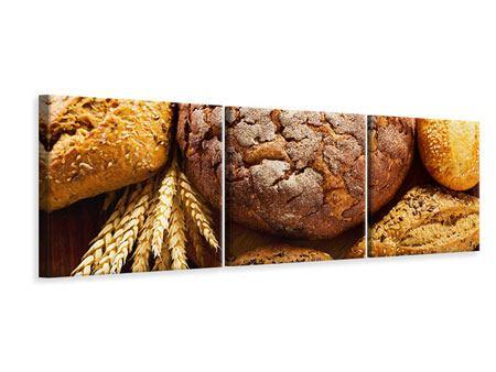 Panorama Leinwandbild 3-teilig Brotsortiment