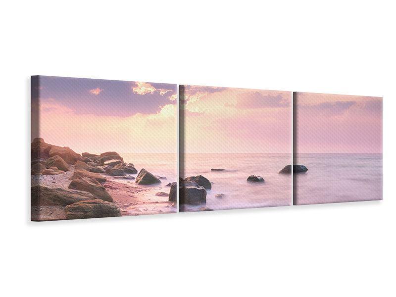 Panorama Leinwandbild 3-teilig Sonnenaufgang am Meer