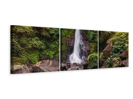 Panorama Leinwandbild 3-teilig Wasserfall Bali