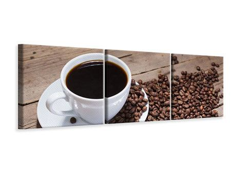 Panorama Leinwandbild 3-teilig Coffee