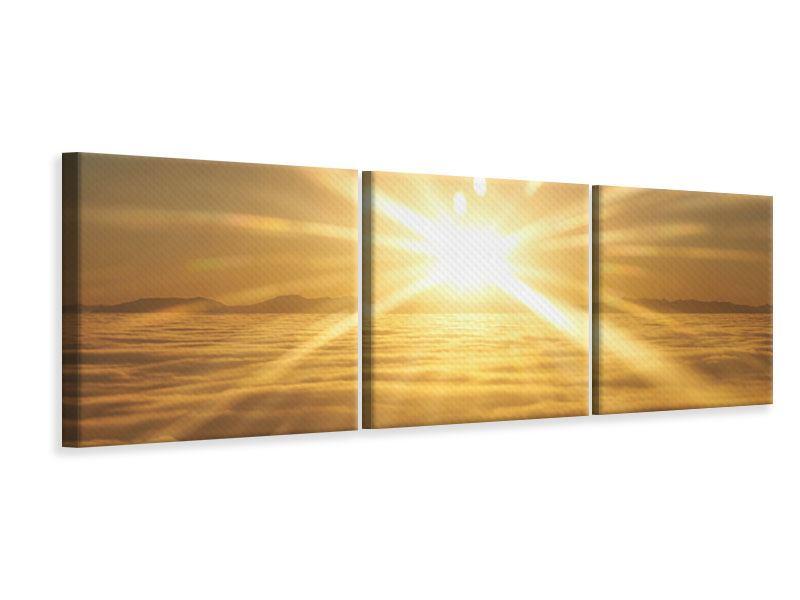 Panorama Leinwandbild 3-teilig Über dem Wolkenmeer