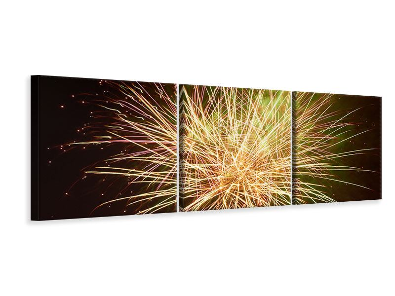Panorama Leinwandbild 3-teilig Feuerwerk XXL