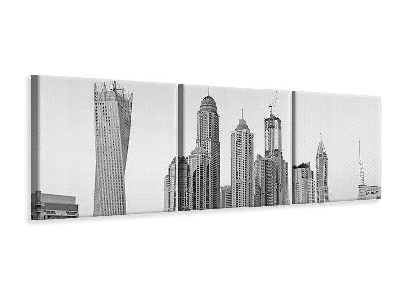 Panorama Leinwandbild 3-teilig Majestätische Wolkenkratzer in Dubai