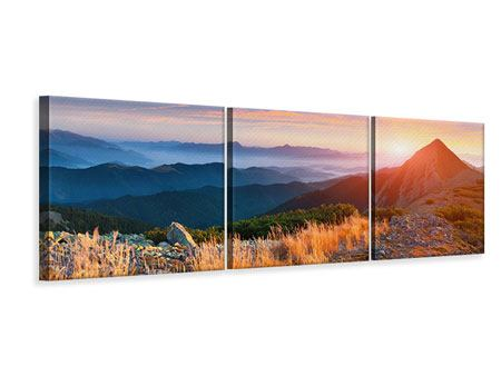 Panorama Leinwandbild 3-teilig Sonnenuntergang in den Alpen