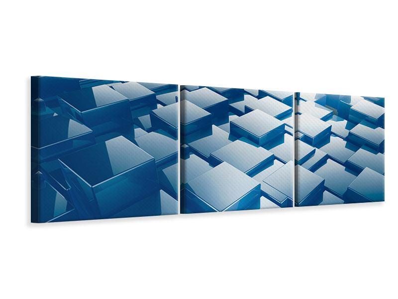 Panorama Leinwandbild 3-teilig 3D-Cubes