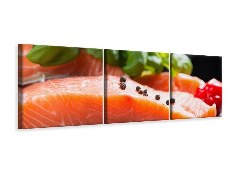 Panorama Leinwandbild 3-teilig Frischer Fisch