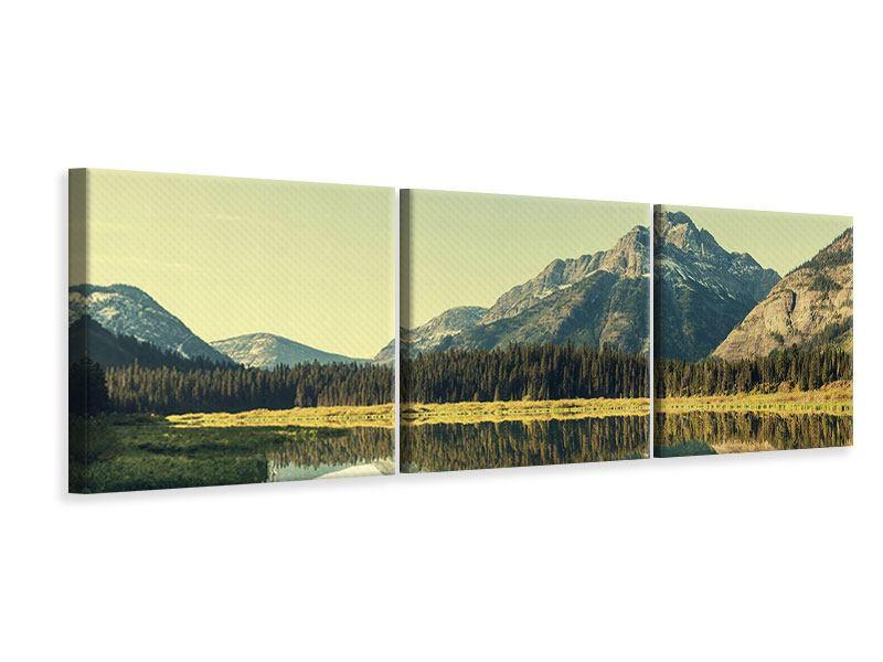 Panorama Leinwandbild 3-teilig Der Bergsee