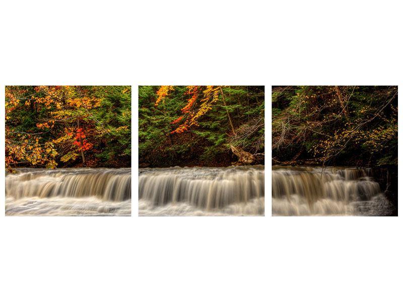 Panorama Leinwandbild 3-teilig Herbst beim Wasserfall