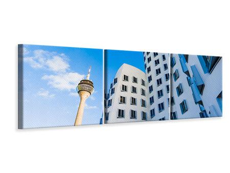 Panorama Leinwandbild 3-teilig Neuer Zollhof Düsseldorf