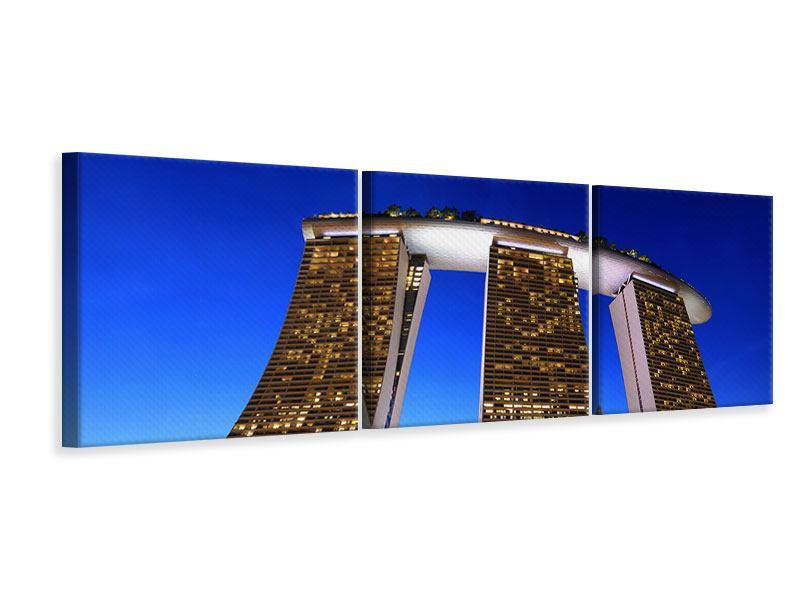 Panorama Leinwandbild 3-teilig Wolkenkratzer Singapur