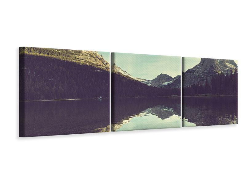 Panorama Leinwandbild 3-teilig Spiegelung im Bergsee