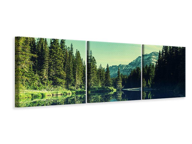 Panorama Leinwandbild 3-teilig Die Musik der Stille in den Bergen