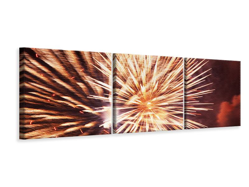 Panorama Leinwandbild 3-teilig Close Up Feuerwerk