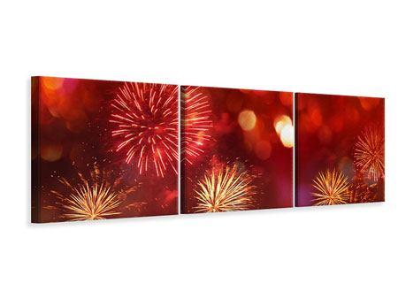 Panorama Leinwandbild 3-teilig Buntes Feuerwerk
