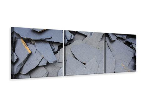 Panorama Leinwandbild 3-teilig Schieferplatten