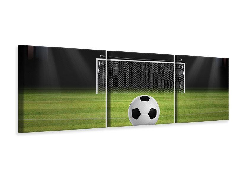 Panorama Leinwandbild 3-teilig Fussball-Tor