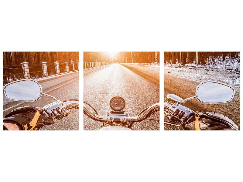 Panorama Leinwandbild 3-teilig Auf dem Motorrad