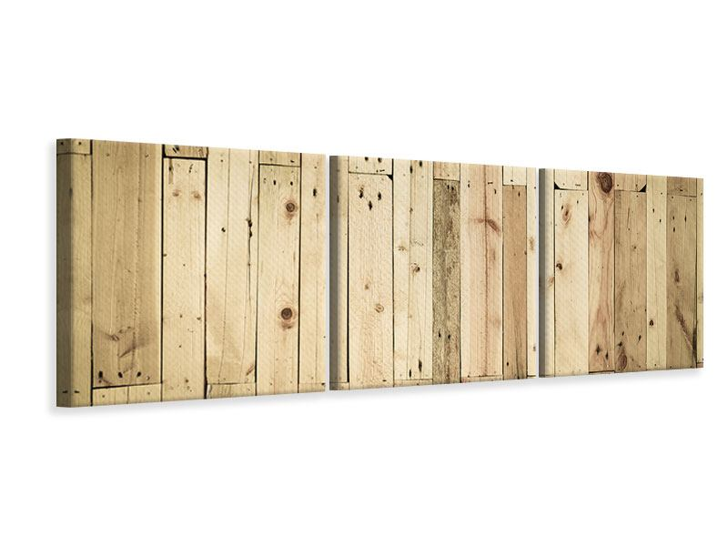Panorama Leinwandbild 3-teilig Holzpaneelen