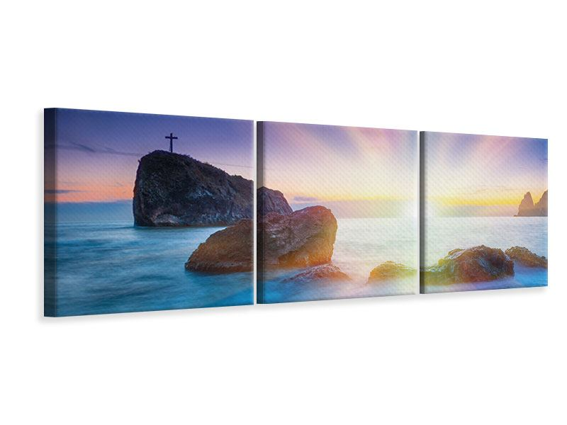 Panorama Leinwandbild 3-teilig Mystisches Meer