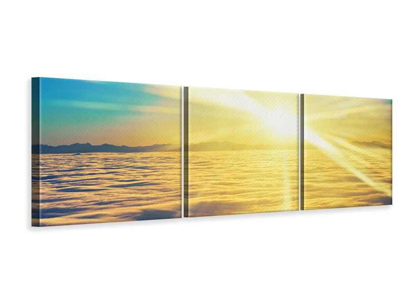 Panorama Leinwandbild 3-teilig Sonnenuntergang über den Wolken