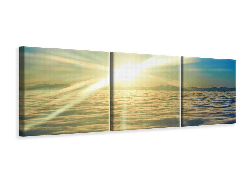 Panorama Leinwandbild 3-teilig Sonnenaufgang über den Wolken