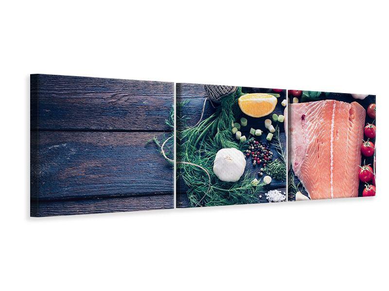 Panorama Leinwandbild 3-teilig Fangfrischer Fisch