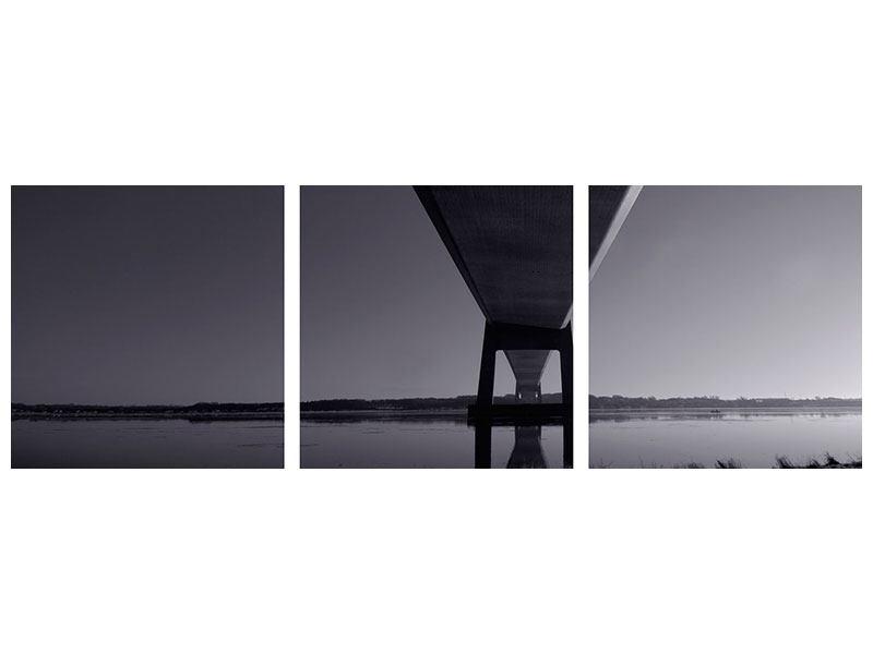 Panorama Leinwandbild 3-teilig Die Brücke über tiefes Wasser