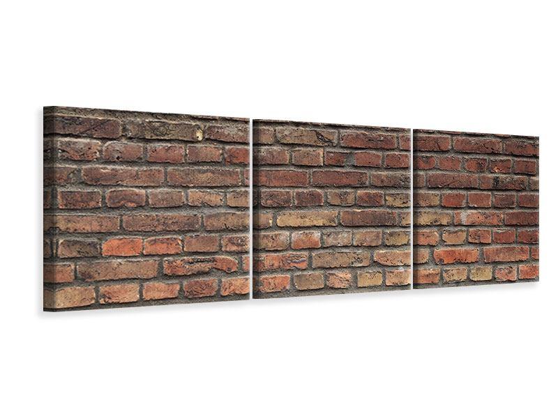 Panorama Leinwandbild 3-teilig Brick Wall