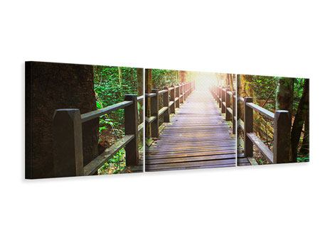 Panorama Leinwandbild 3-teilig Die Brücke im Wald