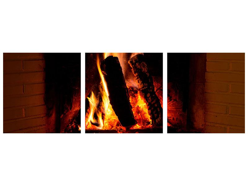 Panorama Leinwandbild 3-teilig Feuer im Kamin